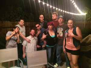 All the crew hanging out after the show.